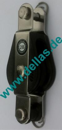 28 mm Kugellagerblock, einfach mit Hundsfott und Gabelkopf