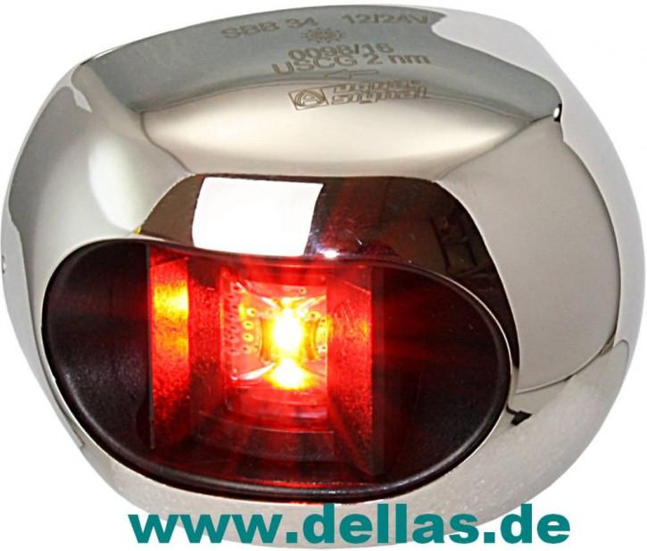 Aqua Signal LED Backbordlaterne Serie 34 mit Edelstahlgehäuse