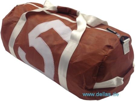 Segeltuch-Tragetasche, Barrel Bag Braun Groß