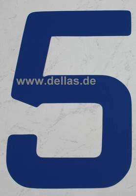 Segelnummer 5, 380 mm Blau