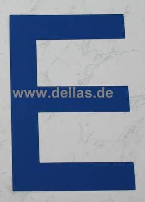 Segelnummer E, 380 mm Blau