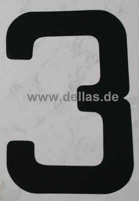 Segelnummer 3, 380 mm Schwarz