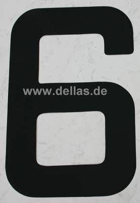 Segelnummer 6, 380 mm Schwarz