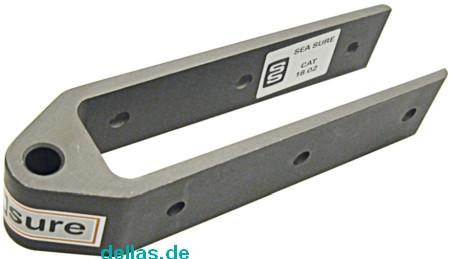 SeaSure Aluminium Ruderbeschlag, lang, Loch 8 mm