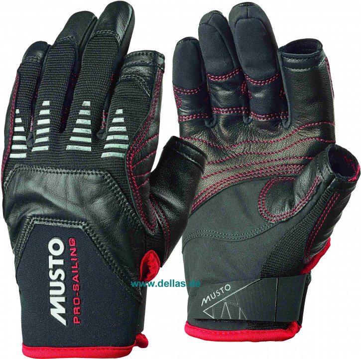 Segelhandschuhe MUSTO EVO Gloves 2 Finger geschnitten schwarz