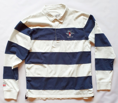 Musto Langarm Cut and Sew Rugby-Shirt Navy/White