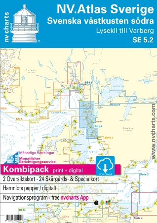 Sportschifffahrtskarten NV. NV. Sverige SE 5.2, Svenska västkusten södra - Lysekil till Varberg - Atlas
