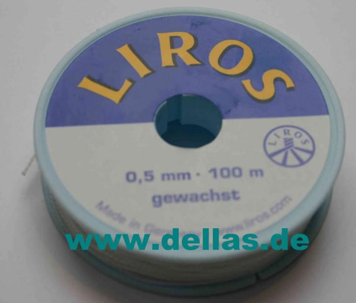 Mini-Spulen Liros Takelgarn, 0,5 mm Ø, gewachst, Weiß