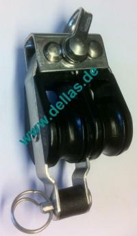 19 mm MACRO  Kugellagerblock, doppelt mit Hundsfott und Schäkel