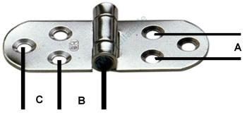 Edelstahlscharnier 6 Bohrungen Sprenger 100 mm lang, 40 mm breit