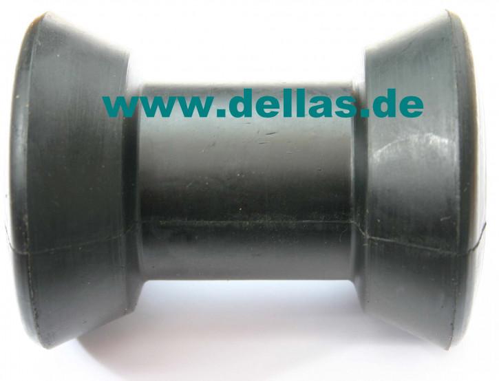 Kielrolle Gummi Schwarz 100 mm flach