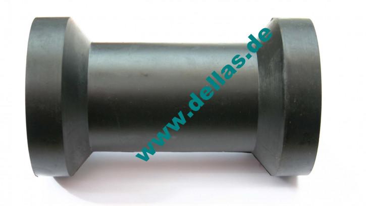 Kielrolle Gummi Schwarz 130 mm flach