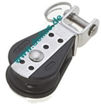 Einzelblock mit Gabel-Wirbel 6mm Schot 22mm Scheibe, Kugellager