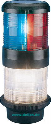 Kombilaterne Dreifarbenlaterne und Ankerlaterne zum Festanbau, 12 Volt oder 24 Volt