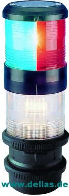 Kombilaterne Dreifarbenlaterne - Tricolor und Ankerlaterne mit Quicfits, 12 Volt