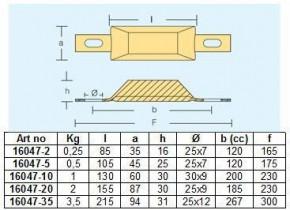 Rumpf Anode 250 g - 3,5 KG