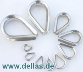 Edelstahlkauschen, Herzform  2 - 16 mm Tau-Ø
