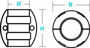 Wellen-Anode Nussförmig Zink 38 mm