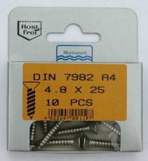 Blisterpack Senkkopfblechschraube 4,8 x 25 mm