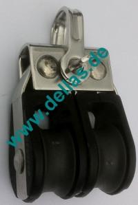 19 mm MACRO Kugellagerblock, doppelt mit Schäkel ohne Hundsfott