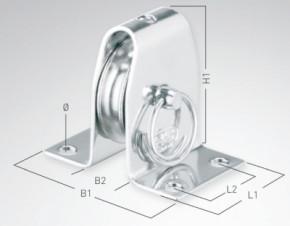 Stehblock für Draht Gleitlager 4 mm - 1 Rolle, Rolle vernietet